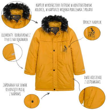 Endo - Długa kurtka parka zimowa dla małego dziecka, musztardowa N04A022_2,4