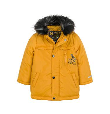 Endo - Długa kurtka parka zimowa dla małego dziecka, musztardowa N04A022_2 6