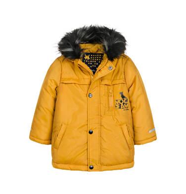 Długa kurtka parka zimowa dla małego dziecka, musztardowa N04A022_2