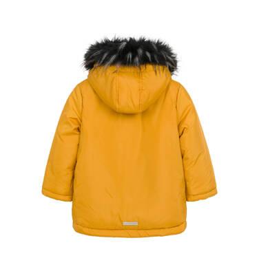 Endo - Długa kurtka parka zimowa dla małego dziecka, musztardowa N04A022_2,2
