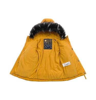 Endo - Długa kurtka parka zimowa dla małego dziecka, musztardowa N04A022_2 1