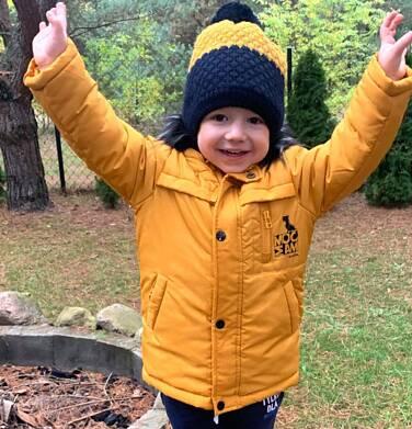 Endo - Długa kurtka parka zimowa dla małego dziecka, musztardowa N04A022_2 3
