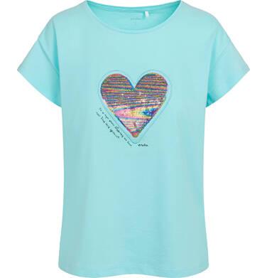 Endo - T-shirt damski z sercem z cekinów, niebieski Y05G001_2 22