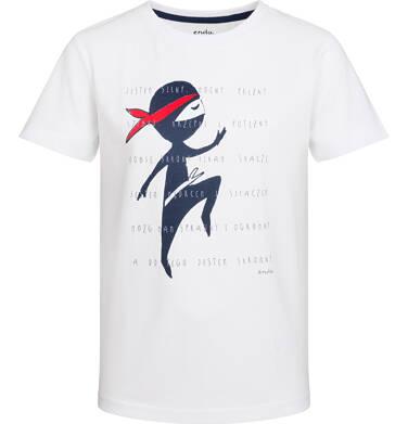Endo - T-shirt z krótkim rękawem dla chłopca, super ninja, biały, 2-8 lat C03G037_1