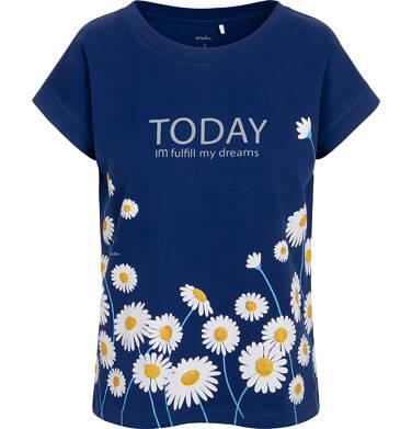 Endo - T-shirt damski w stokrotki, granatowy Y05G002_1 21