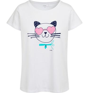 Endo - Piżama damska z krótkim rękawem, z kotem w okularach - sercach, biała Y05V006_1 1