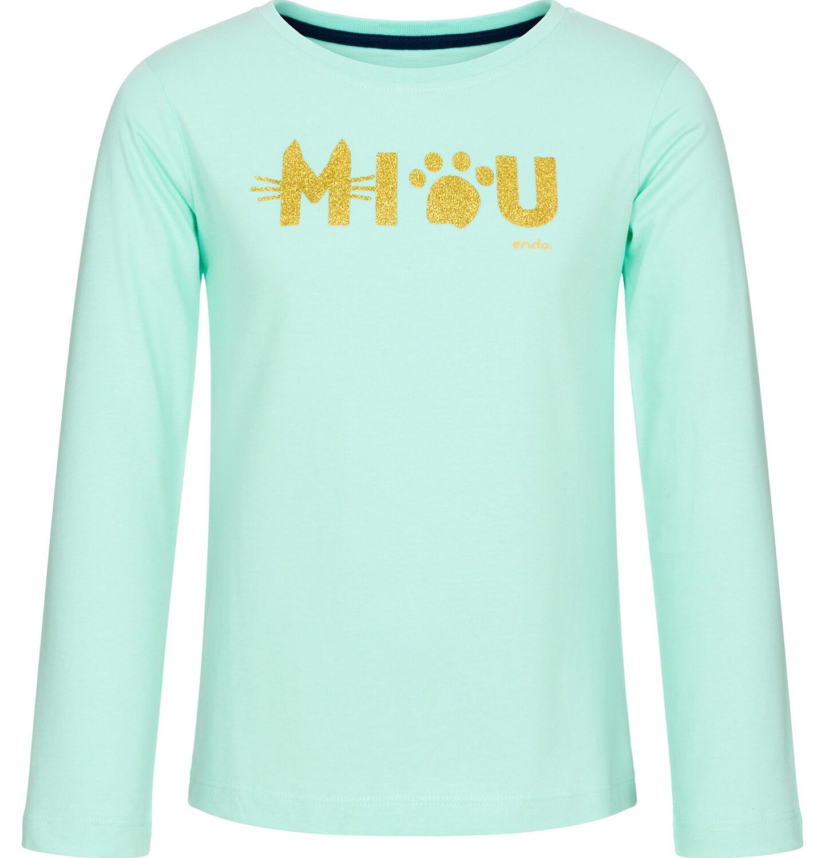 Endo - Bluzka z długim rękawem dla dziewczynki, miau, miętowa, 9-13 lat D92G525_1