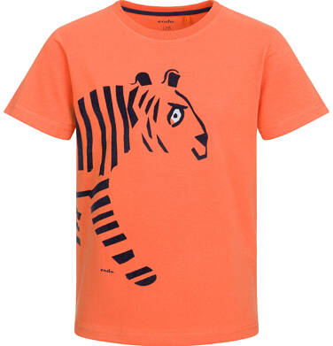 T-shirt z krótkim rękawem dla chłopca, z tygrysem, pomarańczowy, 9-13 lat C03G514_1