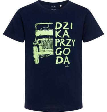 T-shirt z krótkim rękawem dla chłopca, z napisem dzika przygoda, granatowy, 9-13 lat C06G036_1