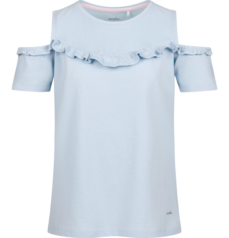 Endo - Bluzka z krótkim rękawem dla dziewczynki, z odsłoniętymi ramiona, niebieska, 9-13 lat D03G657_1