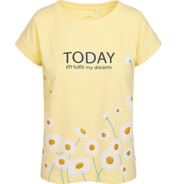 Endo - T-shirt damski w stokrotki, żółty Y05G002_2