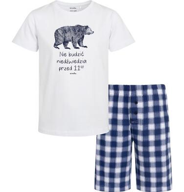 Endo - Piżama z krótkim rękawem dla chłopca, z napisem nie budzić niedźwiedzia przed 11, biała, 9-13 lat C05V001_1 85