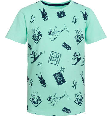 Endo - T-shirt z krótkim rękawem dla chłopca, motyw ninja, miętowy, 2-8 lat C03G038_1