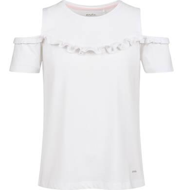 Endo - Bluzka z krótkim rękawem dla dziewczynki, z odsłoniętymi ramiona, biała, 2-8 lat D03G157_2 268