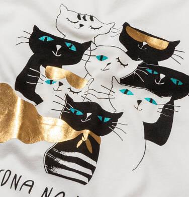 Endo - T-shirt damski w koty, kremowy Y05G003_1 19