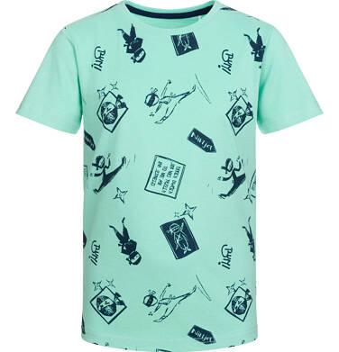 Endo - T-shirt z krótkim rękawem dla chłopca, motyw ninja, miętowy, 9-13 lat C03G538_1