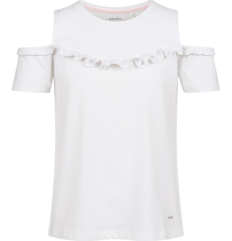 Endo - Bluzka z krótkim rękawem dla dziewczynki, z odsłoniętymi ramiona, biała, 9-13 lat D03G657_2