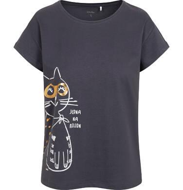 Endo - T-shirt damski z kotem bohaterem, grafitowy Y05G004_1 18