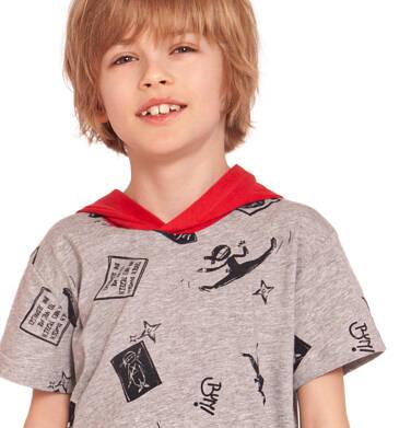 Endo - T-shirt z krótkim rękawem dla chłopca, z kontrastowym kapturem, motyw ninja, szary, 2-8 lat C03G039_1,3