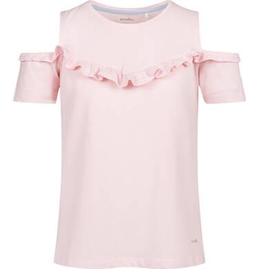 Bluzka z krótkim rękawem dla dziewczynki, z odsłoniętymi ramiona, różowa, 2-8 lat D03G157_3