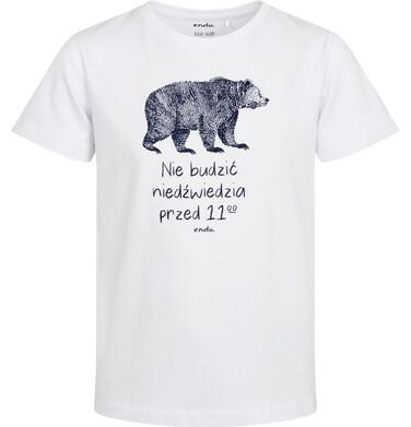 Endo - Piżama z krótkim rękawem dla chłopca, z napisem nie budzić niedźwiedzia przed 11, biała,  2-8 lat C05V002_1 2