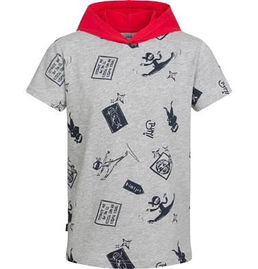 Endo - T-shirt z krótkim rękawem dla chłopca, z kontrastowym kapturem, motyw ninja, szary, 9-13 lat C03G539_1