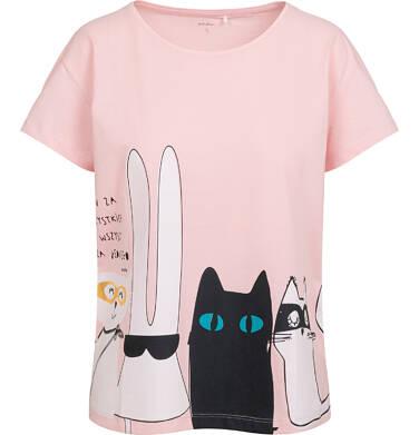 Endo - T-shirt damski ze zwierzątkami, różowy Y05G005_2 16