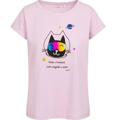 T-shirt damski z kotem astronautą, różowy Y05G006_1