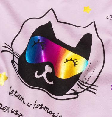 Endo - T-shirt damski z kotem astronautą, różowy Y05G006_1 24
