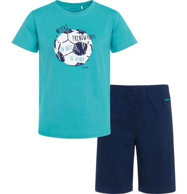 Endo - Piżama z krótkim rękawem dla chłopca, z piłką, z napisem mistrz trenowania od nocy do rana, zielona, 2-8 lat C05V008_1 1