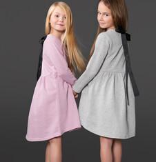 Endo - Sukienka z podwyższoną talią i wstążką dla dziewczynki 3-8 lat D72H065_2
