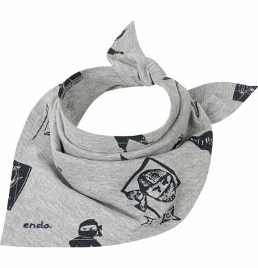 Endo - Chustka dla chłopca, szara z motywem ninja C03R013_1