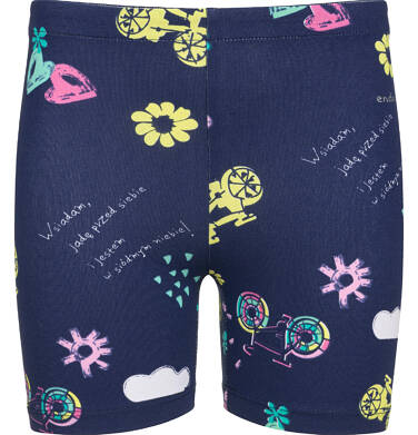 Endo - Krótkie legginsy dla dziewczynki, deseń w serca, granatowe, 9-13 lat D03K514_1 270