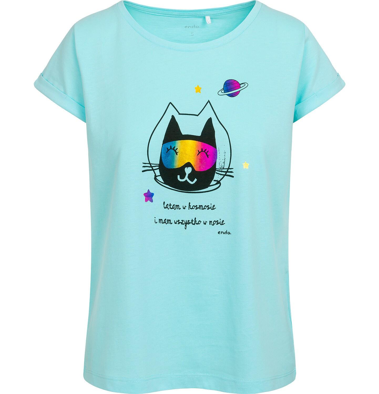 Endo - T-shirt damski z kotem astronautą, niebieski Y05G006_2