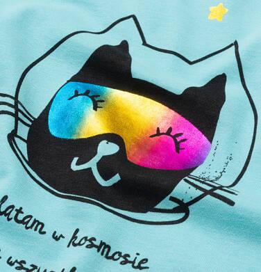 Endo - T-shirt damski z kotem astronautą, niebieski Y05G006_2 23
