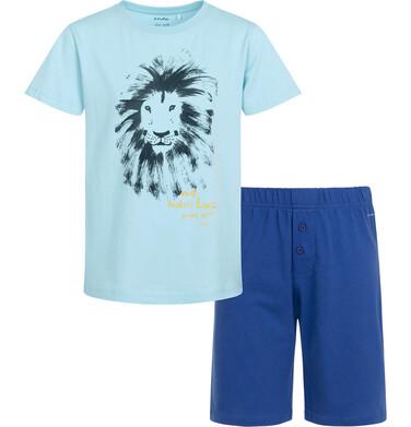 Endo - Piżama z krótkim rękawem dla chłopca, z lwem, z napisem nie budzić lwa przed 10, niebieska, 9-13 lat C05V011_1 82