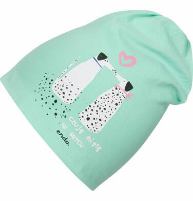 Endo - Czapka wiosenna dla dziewczynki, z dalmatyńczykami, zielona D03R009_1