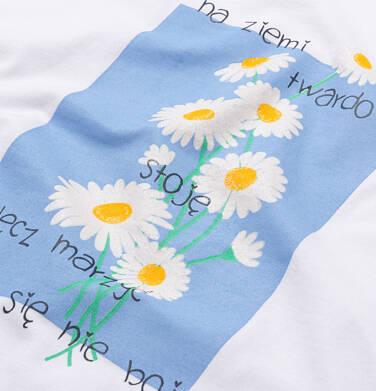 Endo - T-shirt damski ze stokrotkami, biały Y05G007_1 22