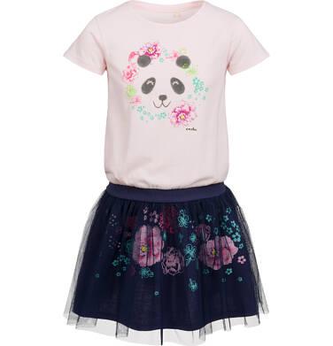 Sukienka z krótkim rękawem, z motywem pandy, tiulowy dół, 2-8 lat D03H004_1