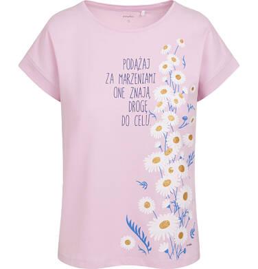 Endo - T-shirt damski ze stokrotkami, różowy Y05G008_1 21