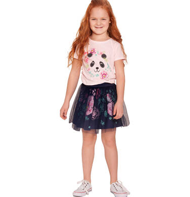 Endo - Sukienka z krótkim rękawem, z motywem pandy, tiulowy dół, 9-13 lat D03H504_1 9