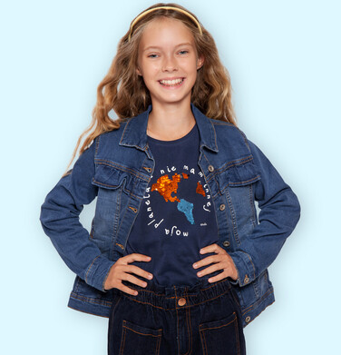 Endo - Bluzka z długim rękawem dla dziewczynki, granatowa, 2-8 lat D04G075_2 1