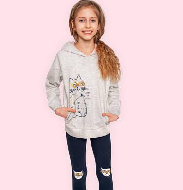 Endo - Legginsy dla dziewczynki, grafitowe z kotami na kolanach, 2-8 lat D05K038_1,2