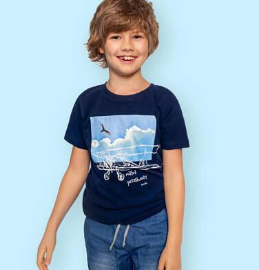 Endo - T-shirt z krótkim rękawem dla chłopca, z samolotem, granatowy, 9-13 lat C06G062_1 111
