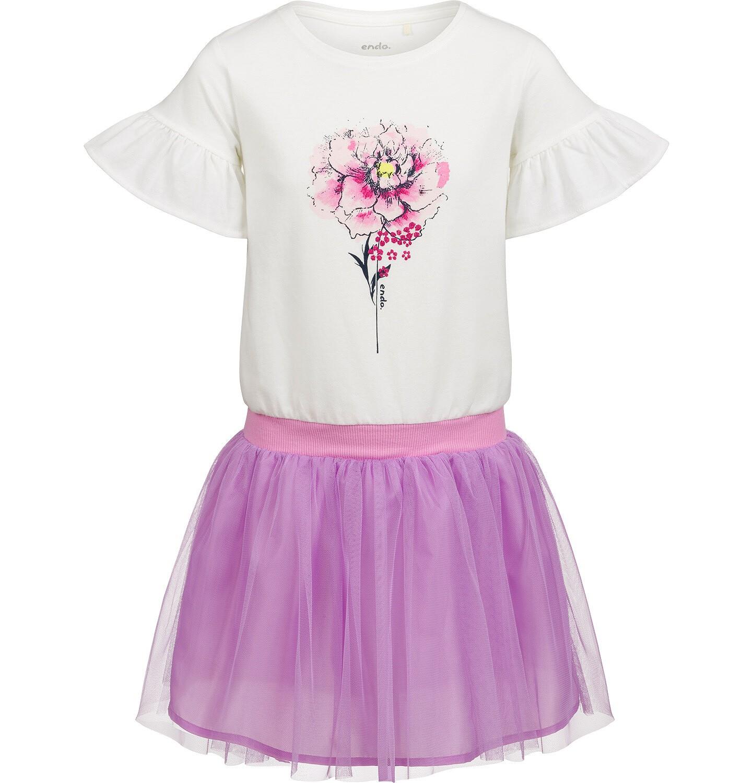 Endo - Sukienka z krótkim rękawem, z kwiatkiem i tiulowym dołem, 9-13 lat D03H505_1