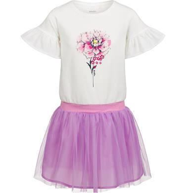 Endo - Sukienka z krótkim rękawem, z kwiatkiem i tiulowym dołem, 9-13 lat D03H505_1 23