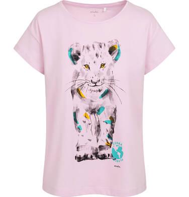 Endo - T-shirt damski z małym lwem, różowy Y05G010_1 18