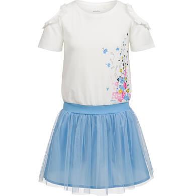 Sukienka z krótkim rękawem, odsłonięte ramiona i tiulowy dół, 2-8 lat D03H021_1