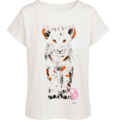 Endo - T-shirt damski z małym lwem, kremowy Y05G010_2 17