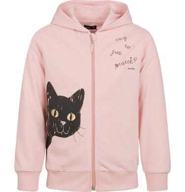 Endo - Rozpinana bluza z kapturem dla dziewczynki, z kotem, różowa, 2-8 lat D03C024_1 13